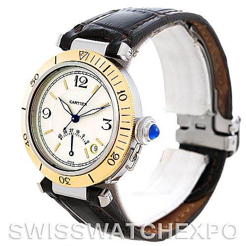Cartier Pasha Power Reserve Mens Steel and Gold Watch W3101255 SwissWatchExpo
