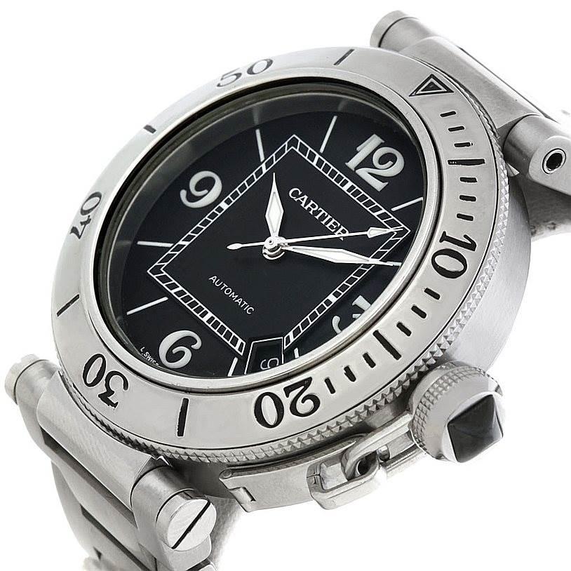 5370 Cartier Pasha Seatimer Steel Watch W31077M7 SwissWatchExpo