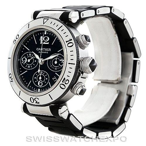 6088 Cartier Pasha Seatimer Chronograph Mens Watch W31088U2 SwissWatchExpo
