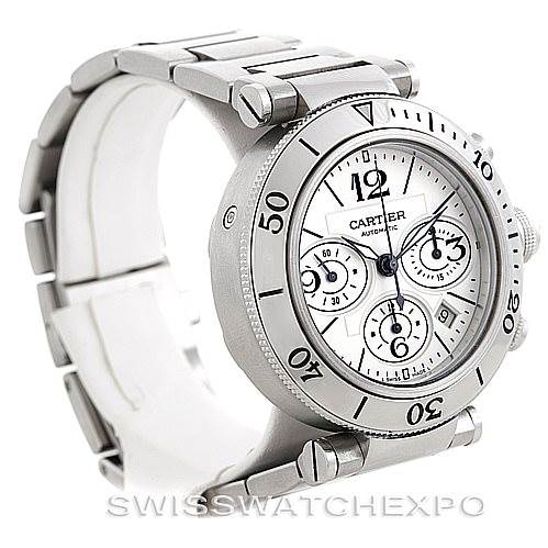 6381 Cartier Pasha Seatimer Chronograph Steel Mens Watch W31089M7 SwissWatchExpo