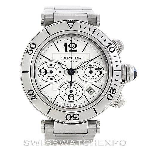 Cartier Pasha Seatimer Chronograph Steel Mens Watch W31089M7 SwissWatchExpo