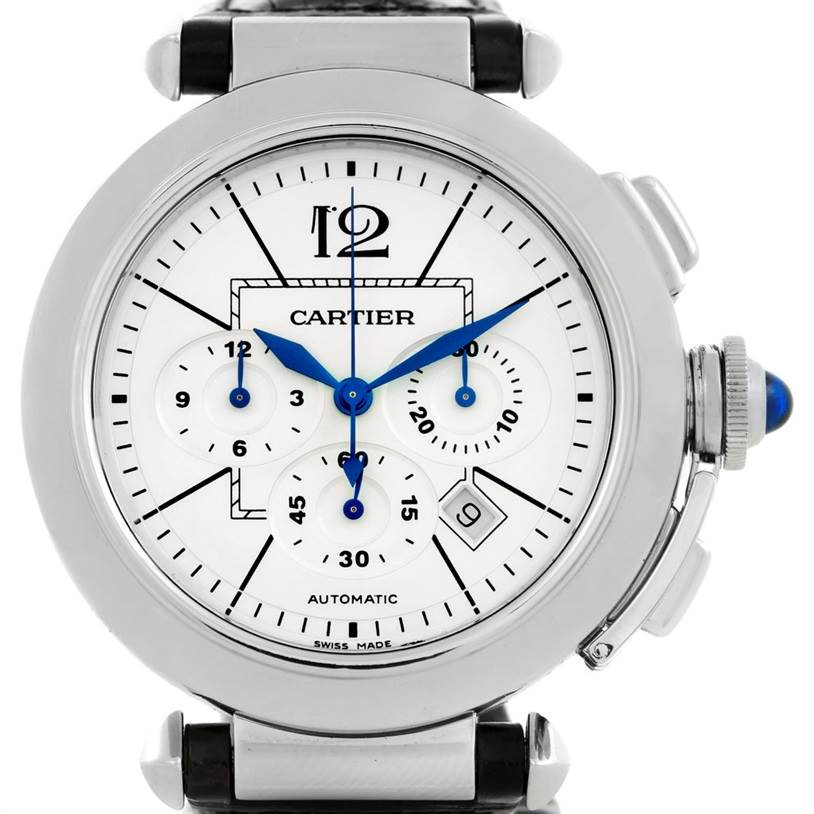 6440 Cartier Pasha Chronograph Steel Black Strap Mens Watch W3108555 SwissWatchExpo
