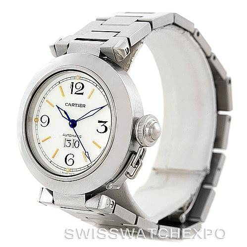 7210 Cartier Pasha C Midsize Steel Watch Big Date W31044M7 SwissWatchExpo