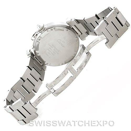 7208 Cartier Pasha C Mens Steel Salmon Grid Dial Watch W31023M7 SwissWatchExpo