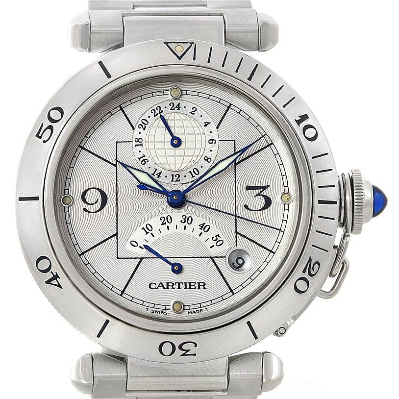 Cartier Pasha Power Reserve Mens Steel GMT Watch W31037H3 SwissWatchExpo