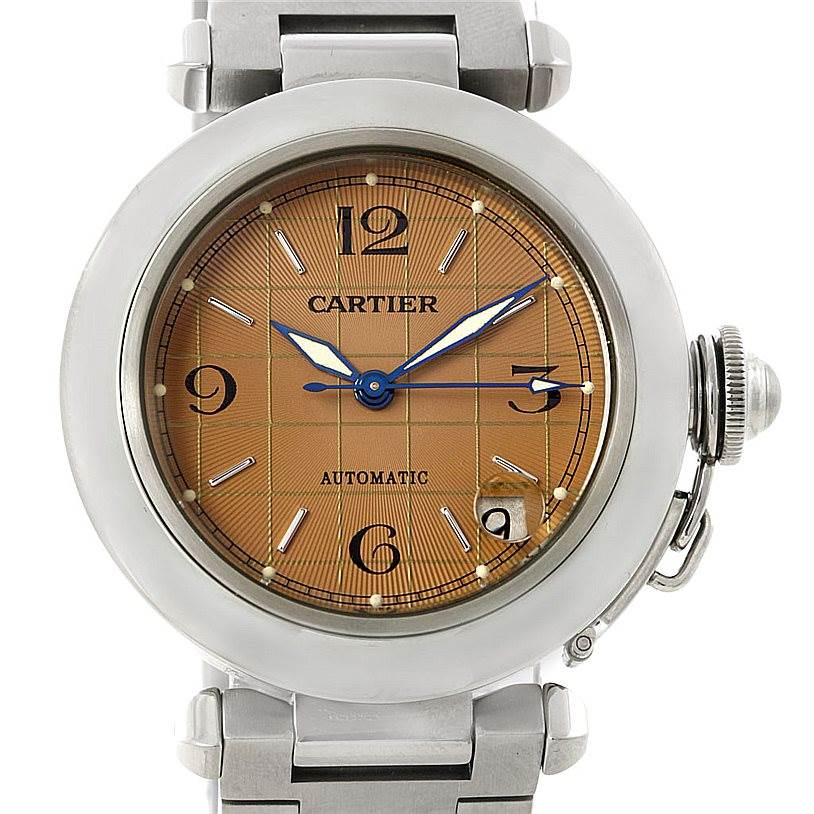 7400 Cartier Pasha C Mens Steel Salmon Grid Dial Watch W31023M7 SwissWatchExpo