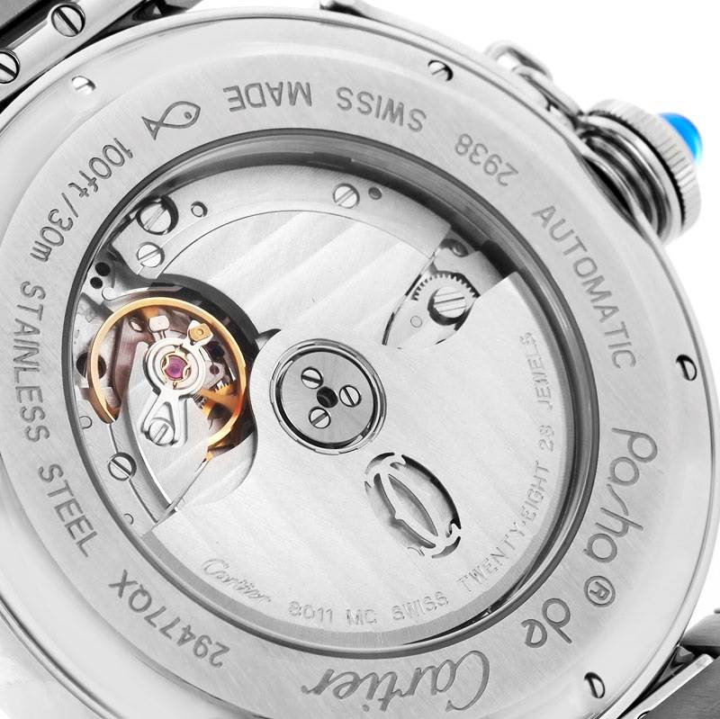 Cartier Pasha Big Date MoonPhase Mens Watch W31093M7 Box Papers SwissWatchExpo