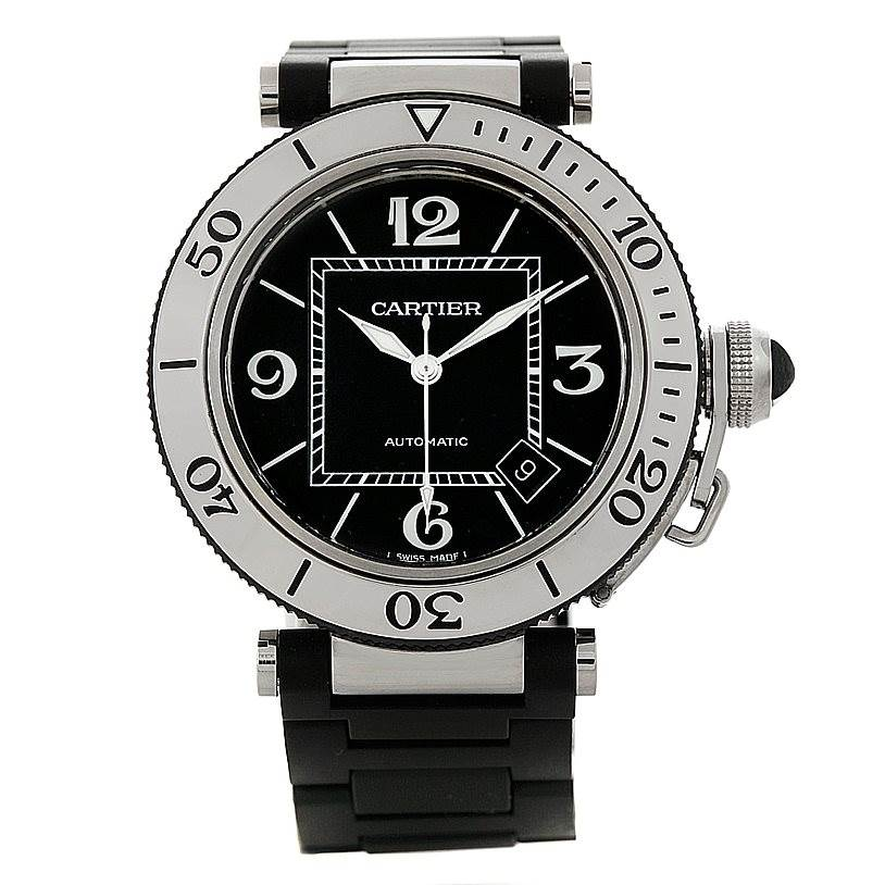 8266 Cartier Pasha Seatimer Steel Rubber Mens Watch W31077U2 SwissWatchExpo