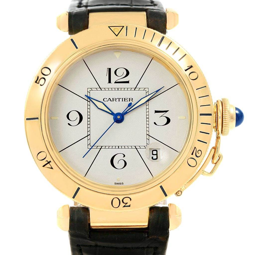 8013 Cartier Pasha 38mm 18K Yellow Gold Automatic Mens Watch SwissWatchExpo