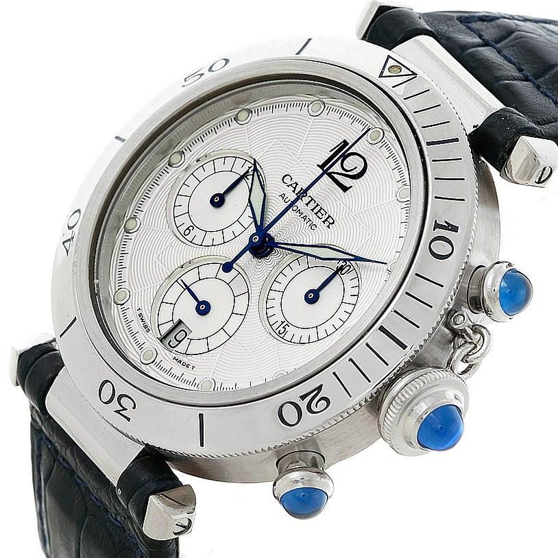 8268 Cartier Pasha Chronograph 38mm Steel Mens Watch W3103055 SwissWatchExpo