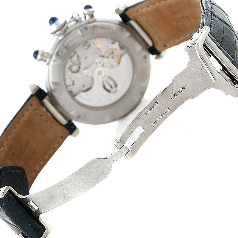 Cartier Pasha Chronograph 38mm Steel Mens Watch W3103055 SwissWatchExpo