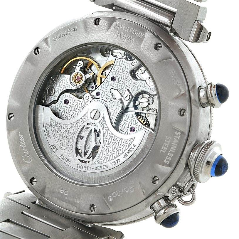 8267 Cartier Pasha Chronograph Steel Mens Watch W31030H3 SwissWatchExpo
