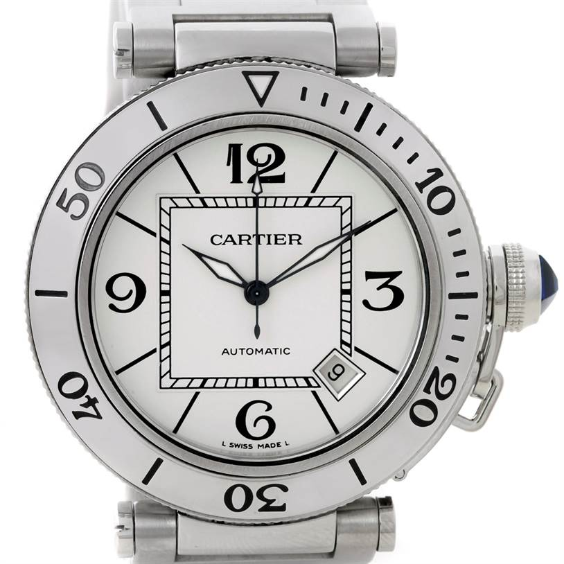 8289 Cartier Pasha Seatimer Steel Watch W31080M7 SwissWatchExpo