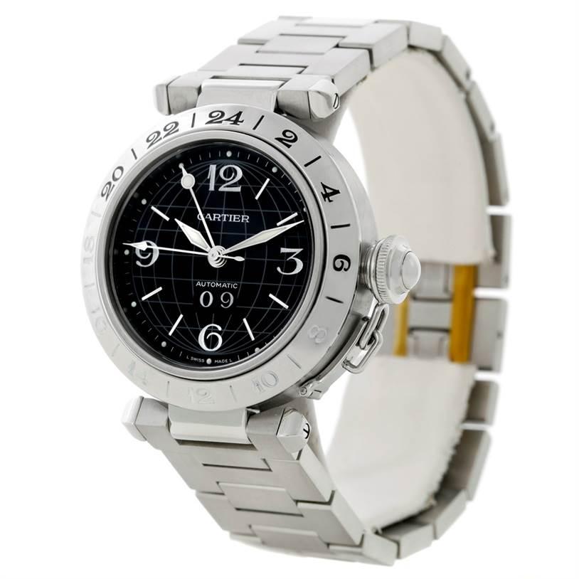 8595 Cartier Pasha C GMT Mens Steel Black Dial Watch W31049M7 SwissWatchExpo
