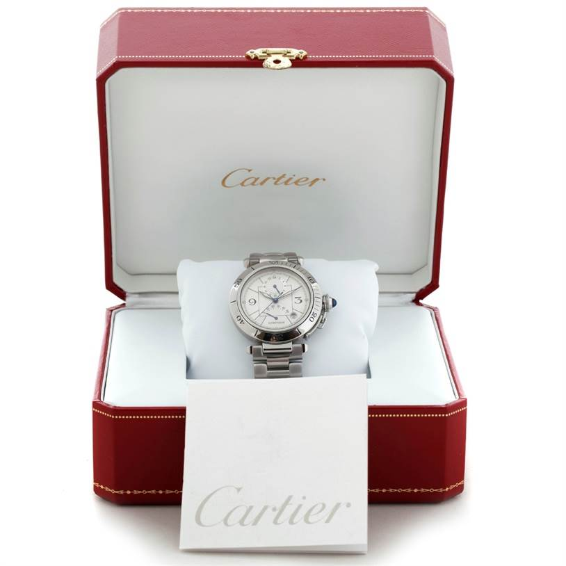 7171 Cartier Pasha Power Reserve GMT Mens Steel Watch W31037H3 SwissWatchExpo