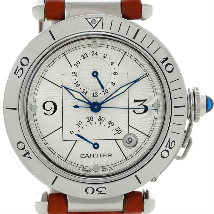 7171a Cartier Pasha Power Reserve GMT Mens Steel Watch W31037H3 SwissWatchExpo