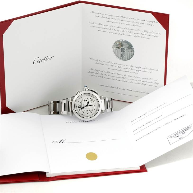 Cartier Pasha 42 mm Chrono Mens Watch W31085M7 Unworn SwissWatchExpo