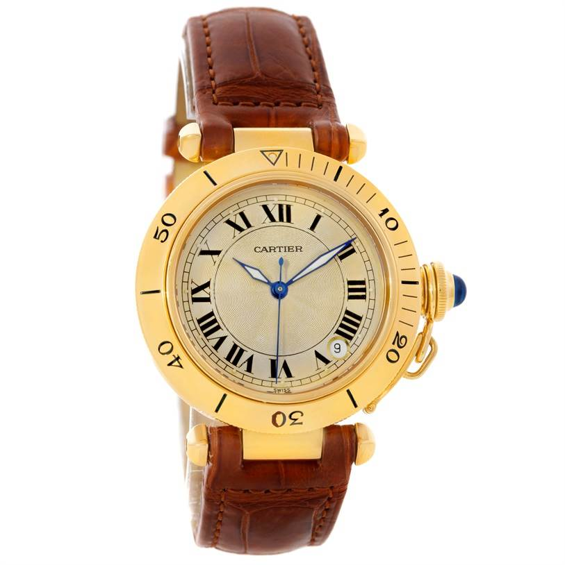 8614 Cartier Pasha 35mm 18K Yellow Gold Automatic Watch SwissWatchExpo