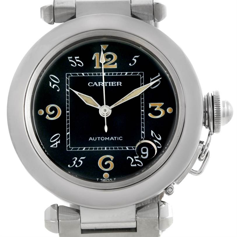 8925  Cartier Pasha C Medium Black Dial Automatic Steel Watch W31043M7 SwissWatchExpo