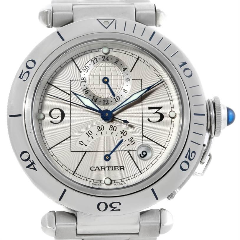 8863 Cartier Pasha Power Reserve GMT Mens Steel Watch W31037H3 SwissWatchExpo