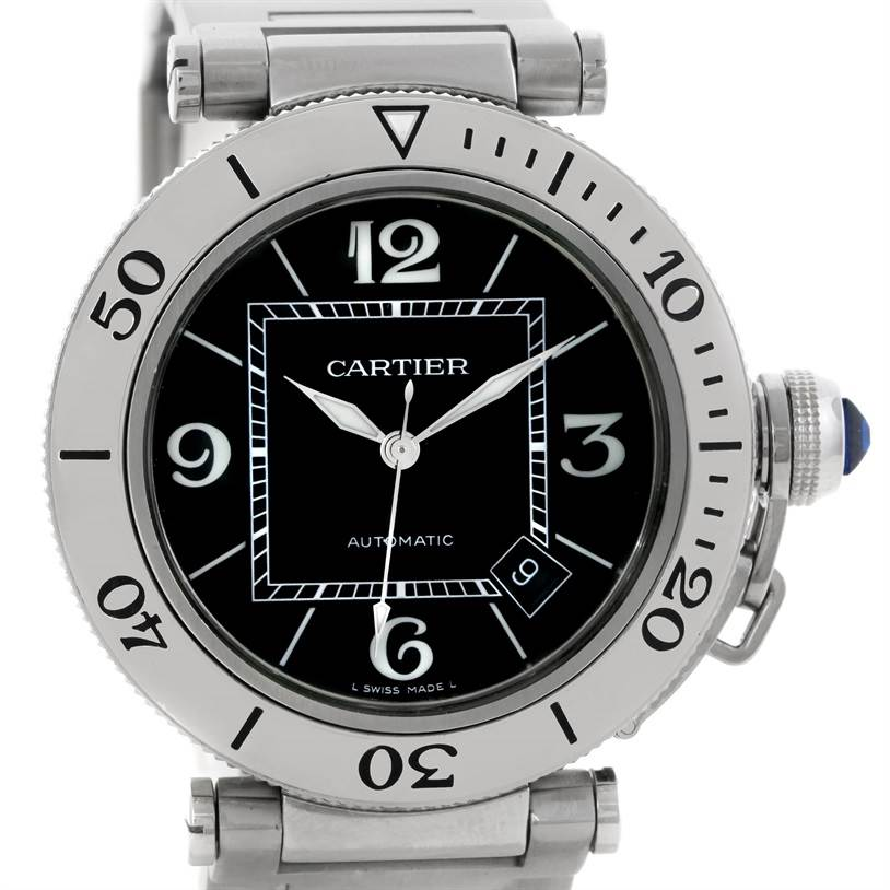 8842 Cartier Pasha Seatimer Black Dial Stainless Steel Watch W31077M7 SwissWatchExpo