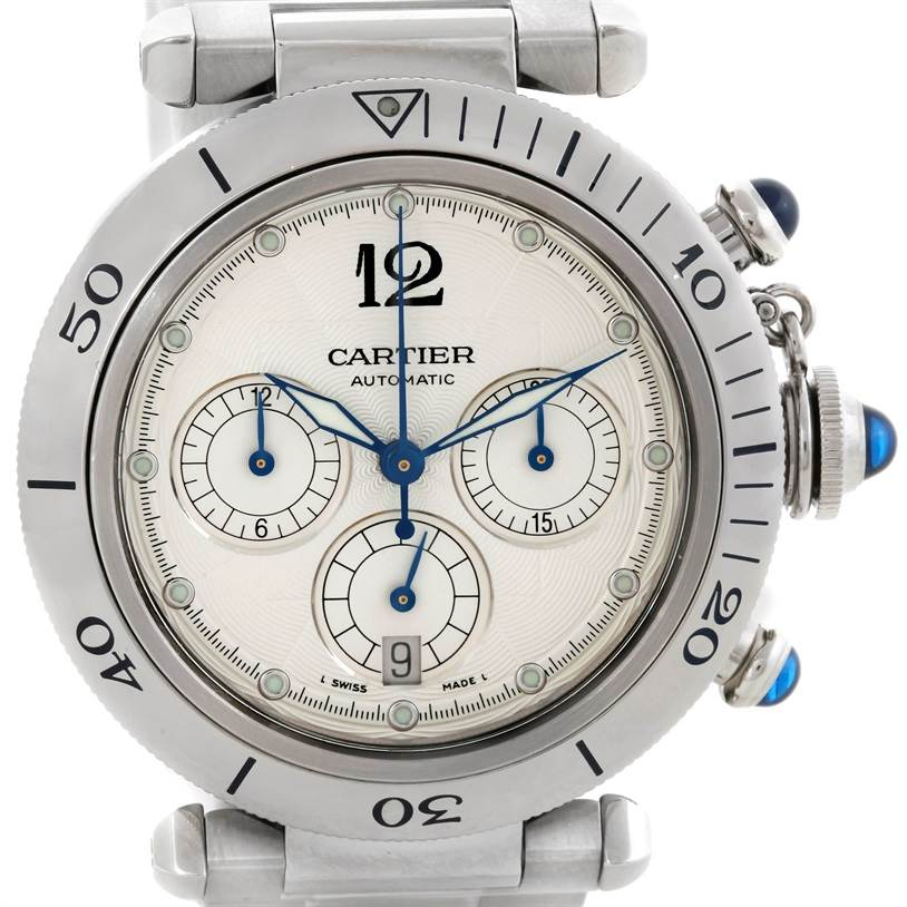 9212 Cartier Pasha Chronograph 38mm Steel Mens Watch W31030H3 SwissWatchExpo