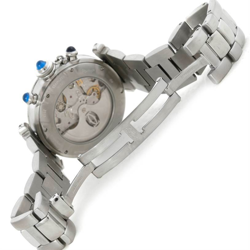 Cartier Pasha Chronograph 38mm Steel Mens Watch W31030H3 SwissWatchExpo