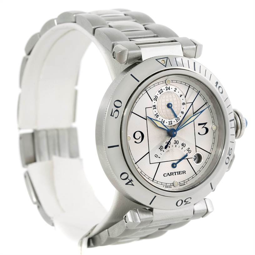 9218 Cartier Pasha Power Reserve GMT Mens Steel Watch W31037H3 SwissWatchExpo