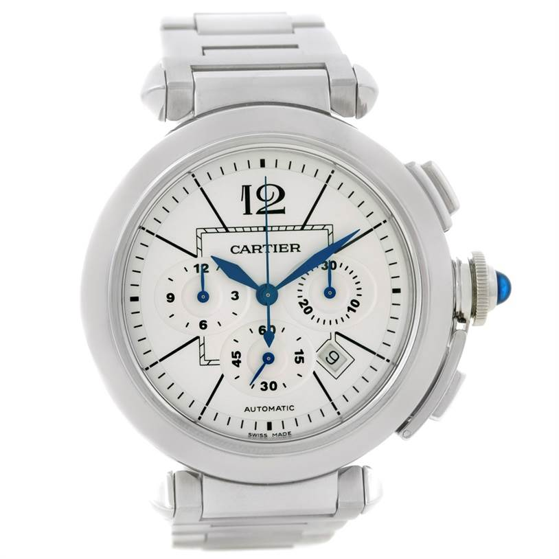 8795 Cartier Pasha 42 mm Chronograph Mens Watch W31085M7 Unworn SwissWatchExpo