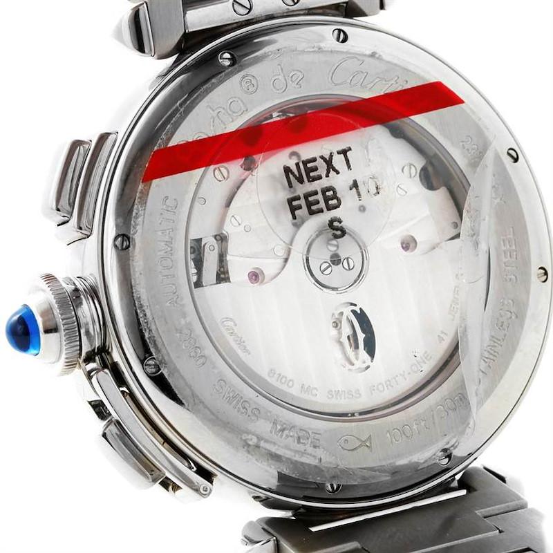 Cartier Pasha 42 mm Chronograph Mens Watch W31085M7 Unworn SwissWatchExpo