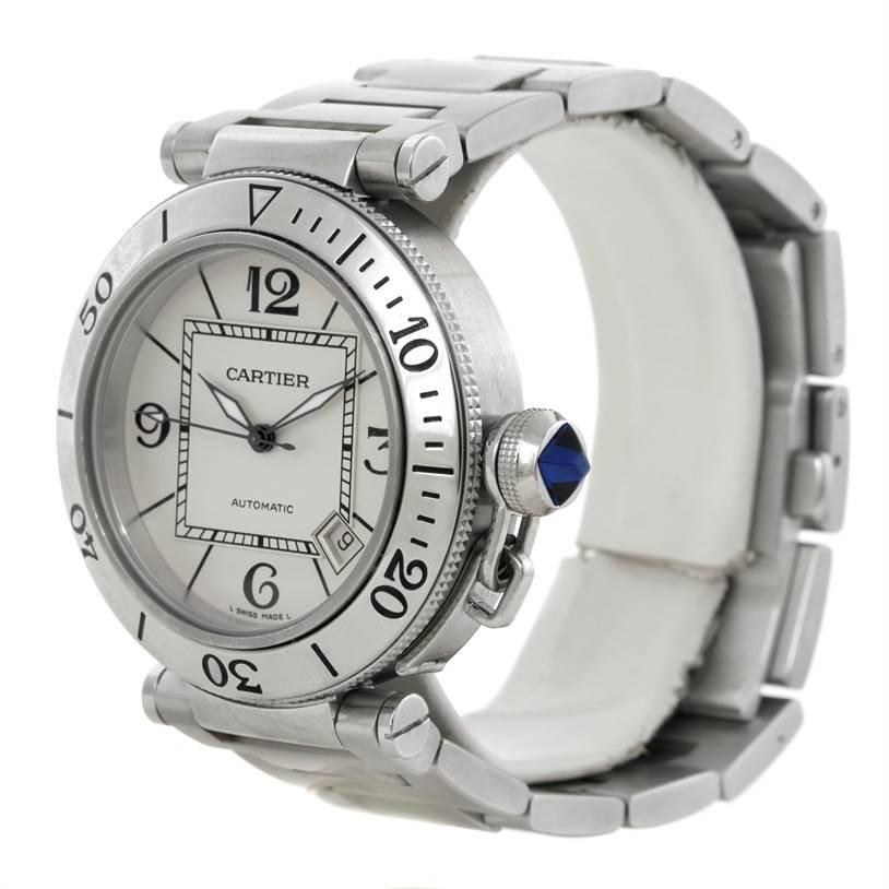 9412 Cartier Pasha Seatimer Steel Stainless Silver Dial Watch W31080M7 SwissWatchExpo
