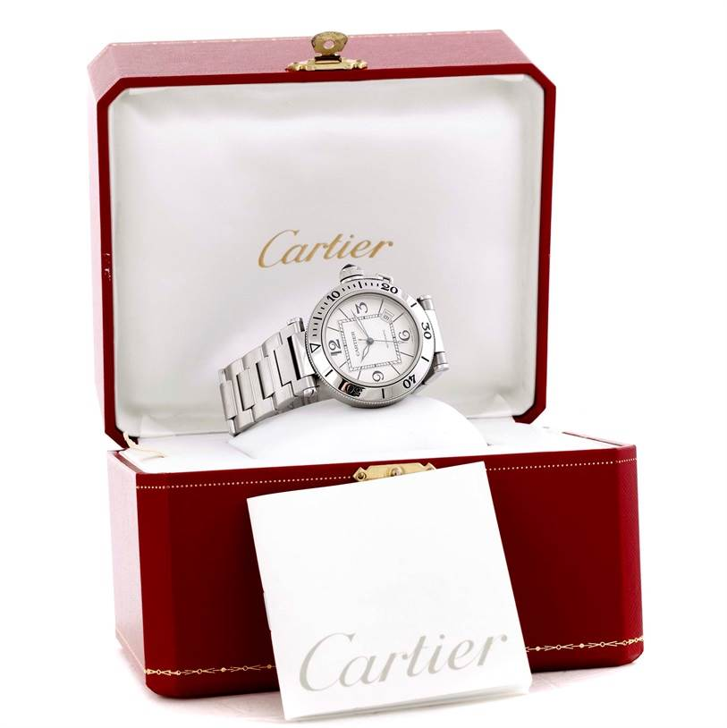 9566 Cartier Pasha Seatimer Stainless Steel Watch W31080M7 SwissWatchExpo