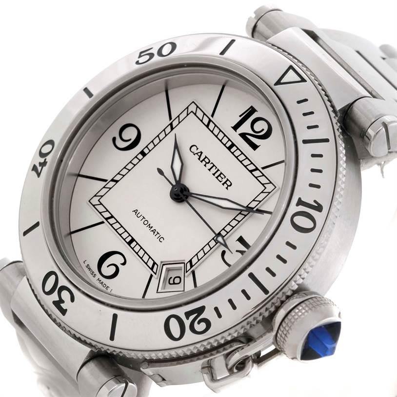 9566 Cartier Pasha Seatimer Stainless Steel Watch W31080M7 SwissWatchExpo