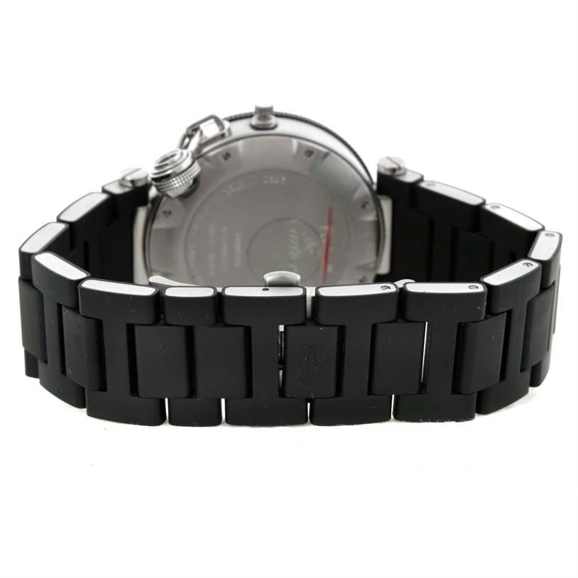 9731 Cartier Pasha Seatimer Steel Black Rubber Mens Watch W31077U2 SwissWatchExpo
