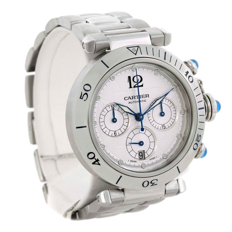 9738 Cartier Pasha Chronograph Steel Mens Watch W31030H3 SwissWatchExpo