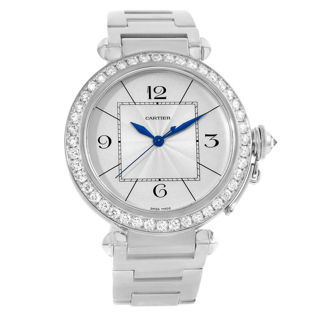9760 Cartier Pasha 42mm 18K White Gold Diamond Mens Watch WJ1202M9 SwissWatchExpo