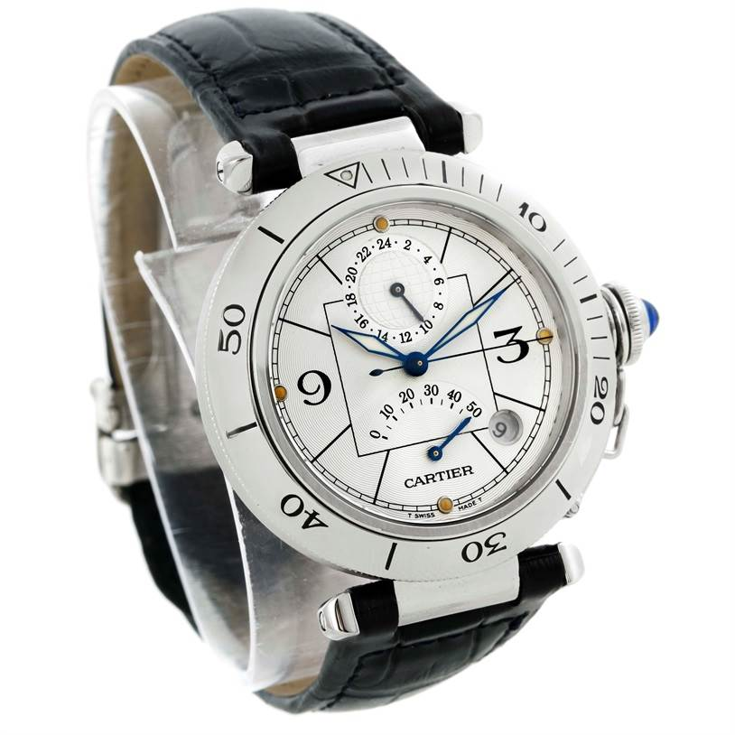 9120 Cartier Pasha Power Reserve GMT Mens Steel Watch W31037H3 SwissWatchExpo