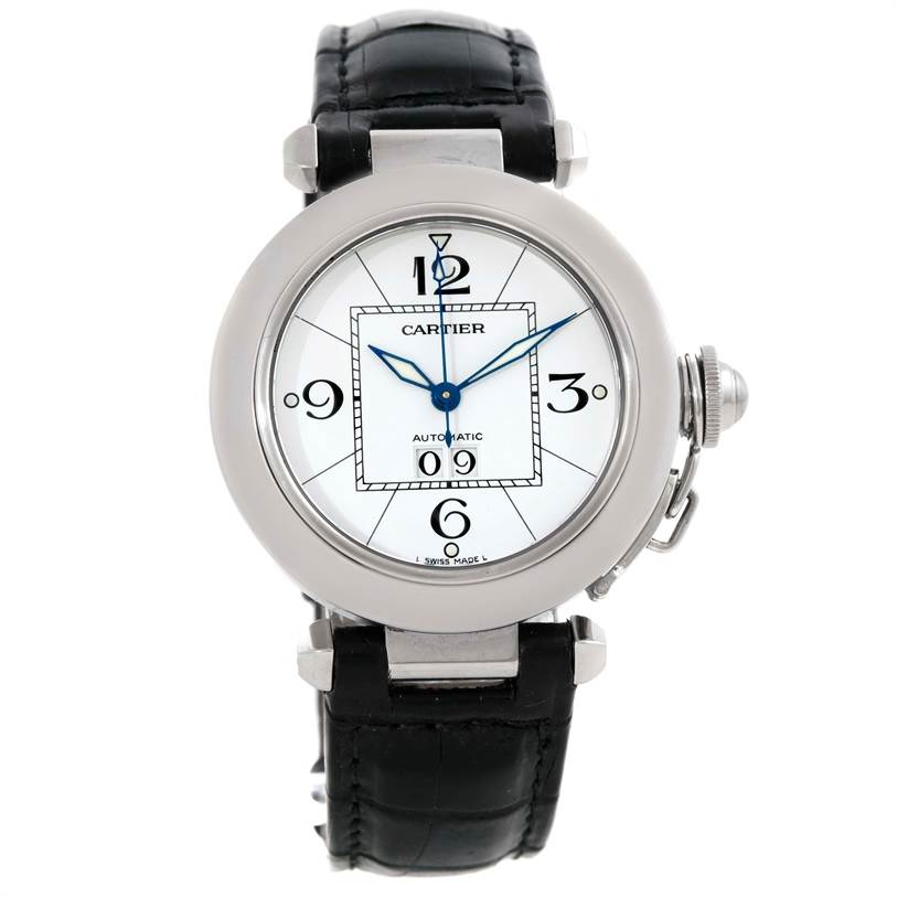 9803 Cartier Pasha C Midsize Steel Watch Big Date W31044M7 SwissWatchExpo