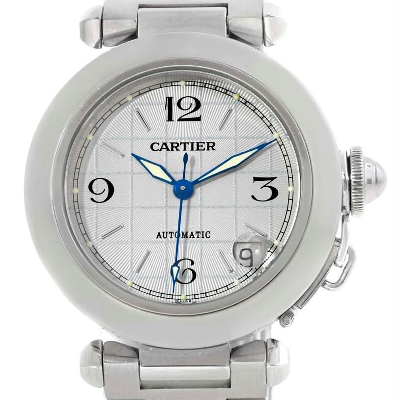 Cartier Pasha C Mens Steel Grey Grid Dial Watch W31023M7 SwissWatchExpo