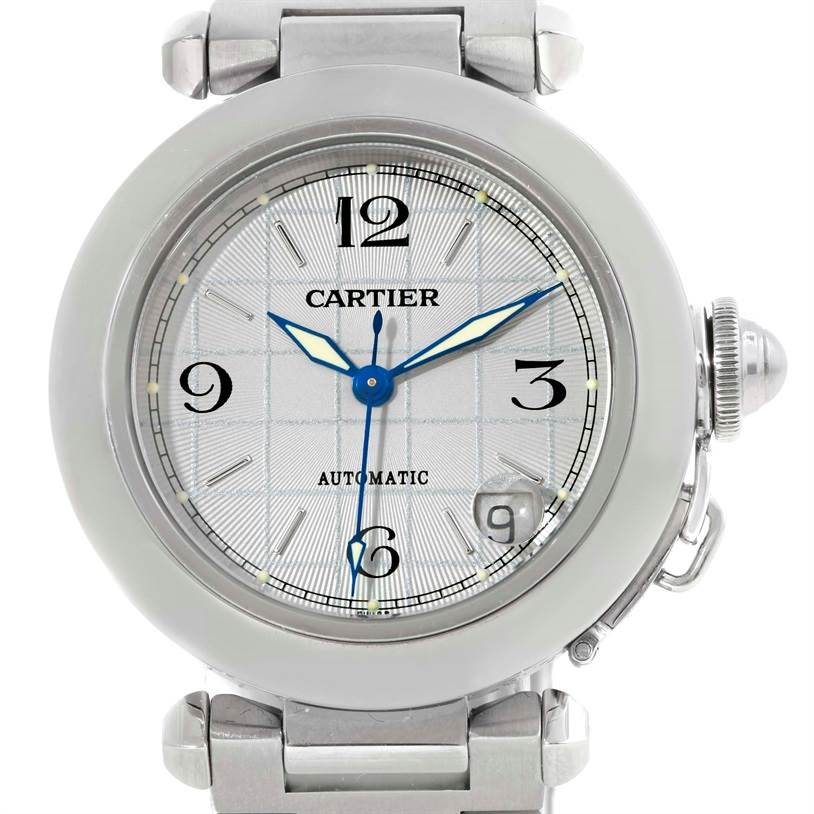 9801 Cartier Pasha C Mens Steel Grey Grid Dial Watch W31023M7 SwissWatchExpo