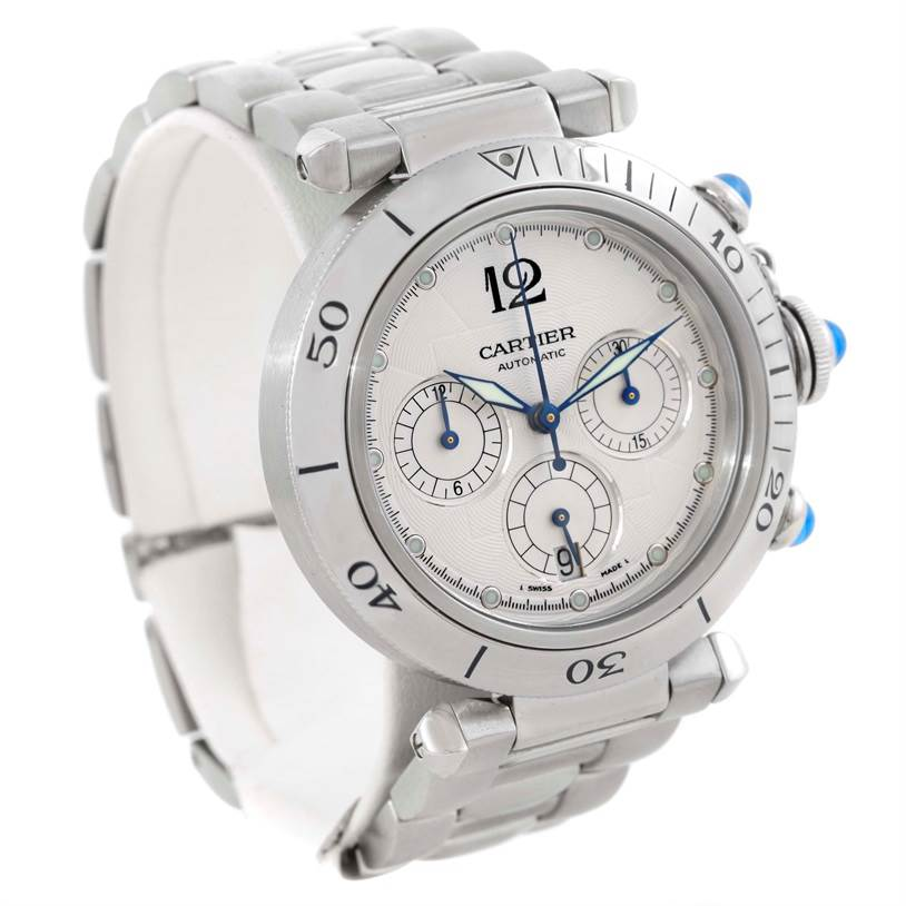 9819 Cartier Pasha Chronograph Steel Automatic Mens Watch W31030H3 SwissWatchExpo