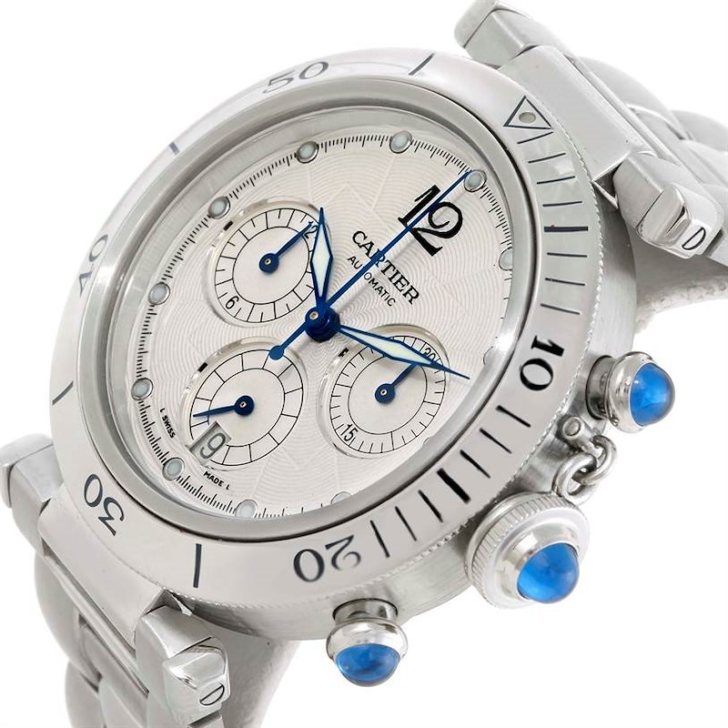Cartier Pasha Chronograph Steel Automatic Mens Watch W31030H3 SwissWatchExpo