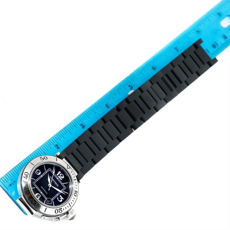 Cartier Pasha Seatimer Steel Black Rubber Strap Mens Watch W31077U2 SwissWatchExpo