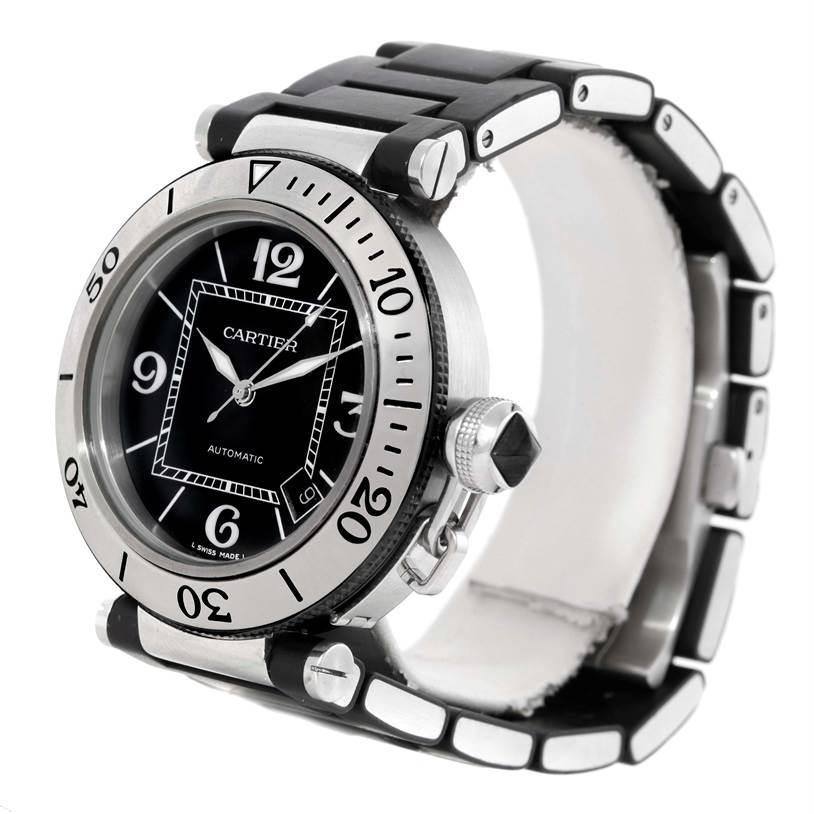 9746 Cartier Pasha Seatimer Steel Black Rubber Strap Mens Watch W31077U2 SwissWatchExpo