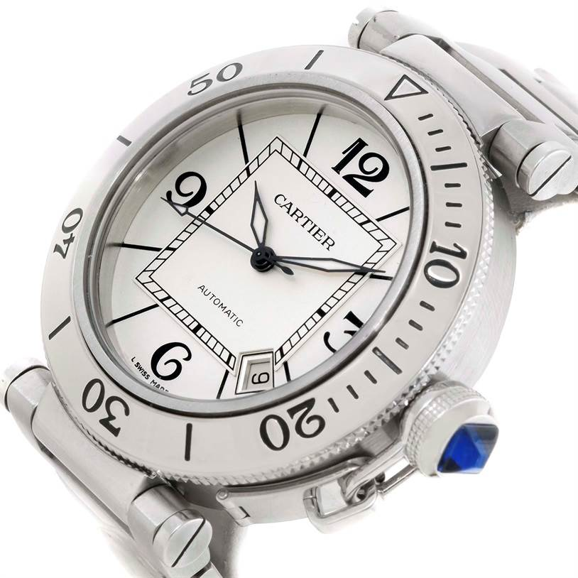 9855 Cartier Pasha Seatimer Stainless Steel Silver Dial Watch W31080M7 SwissWatchExpo