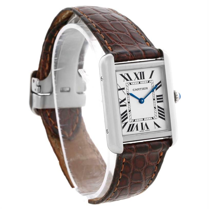 8855 Cartier Tank Solo Ladies Stainless Steel Brown Strap Watch W1018255 SwissWatchExpo