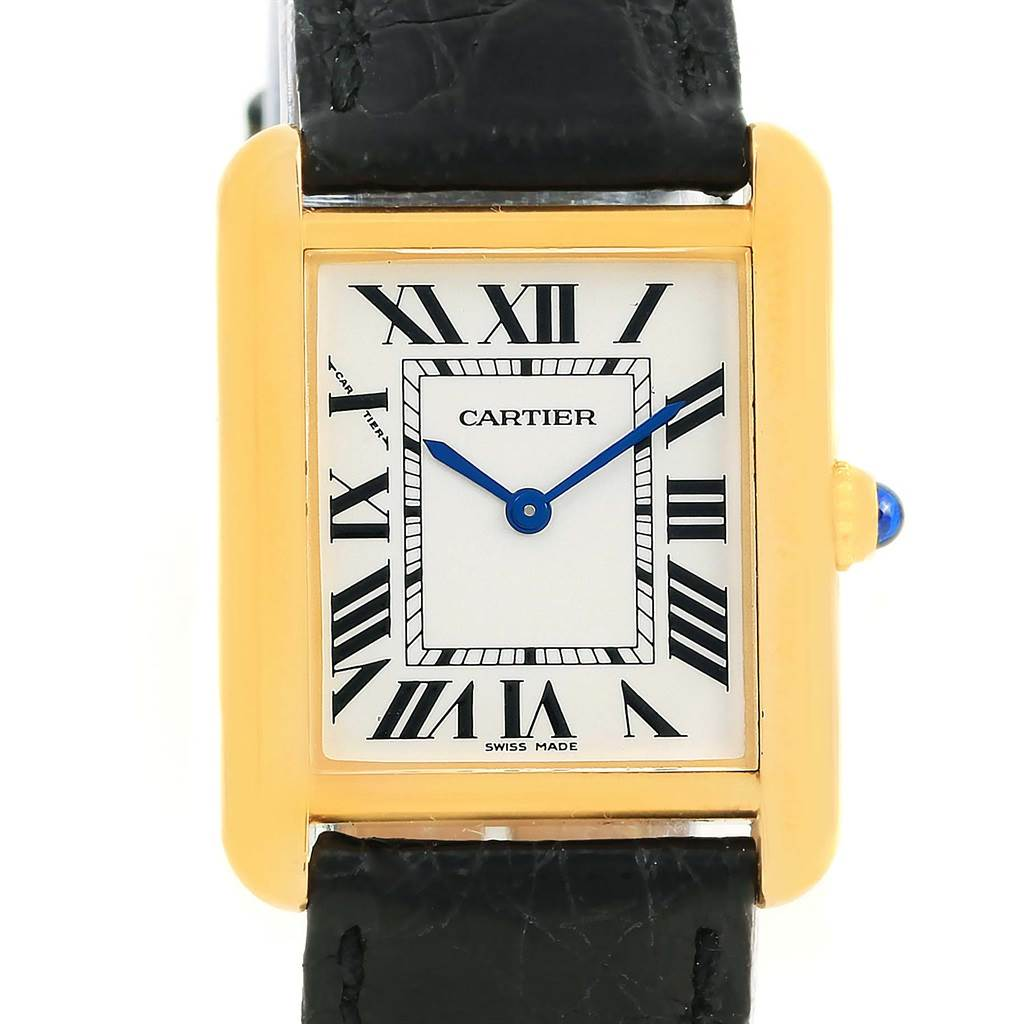 14191 Cartier Tank Solo Small Yellow Gold Steel Ladies Quartz Watch W1018755 SwissWatchExpo