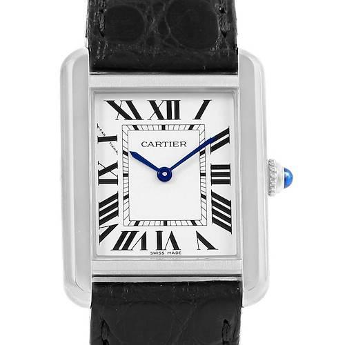 Photo of Cartier Tank Solo Ladies Steel Black Strap Quartz Watch W1018255