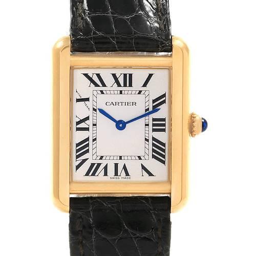 Photo of Cartier Tank Solo Yellow Gold Steel Black Strap Ladies Watch W1018755
