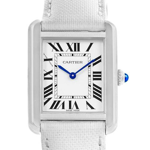 Photo of Cartier Tank Solo Silver Dial White Strap Steel Ladies Watch W1018255